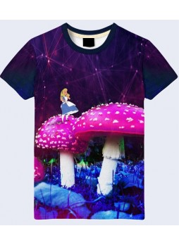 3D ФУТБОЛКА ALICE AND GIANT MUSHROOMS